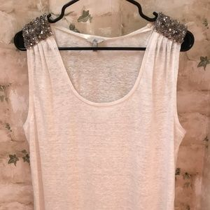 Joie Heavily Beaded Shoulders Tank Small